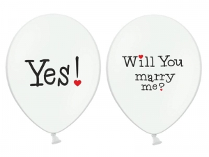 BALON BIAŁY WILL YOU MARRY ME 30cm 1szt
