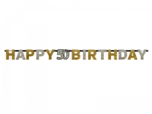 BANER HAPPY BIRTHDAY 50 ZŁOTO-SREBRNY 2,4m