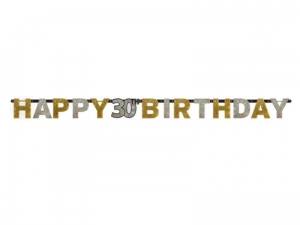 BANER HAPPY BIRTHDAY 30 ZŁOTO-SREBRNY 2,4m